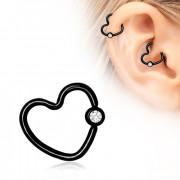 Piercing cartilage h�lix noir coeur serti style CBR
