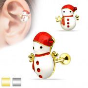 Piercing cartilage oreille bonhomme de neige � �charpe et bonnet rouge