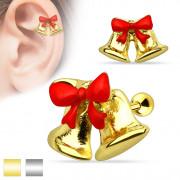 Piercing cartilage oreille cloches de Noel / Paques avec ruban rouge