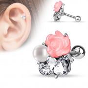 Piercing h�lix / cartilage � rose fimo, perle et papillon en strass