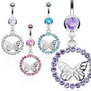 Piercing nombril cercle de pierres et papillon