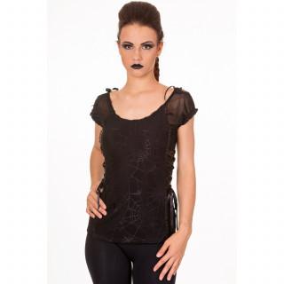 Top gothique Banned noir à motif araignées sur toiles