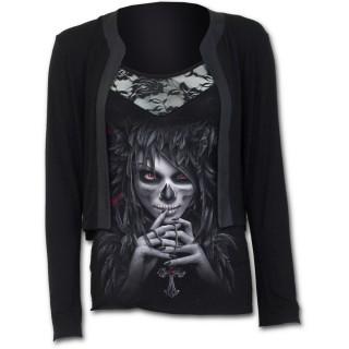 Tunique et cardigan gothique avec femme maquillée style macabre