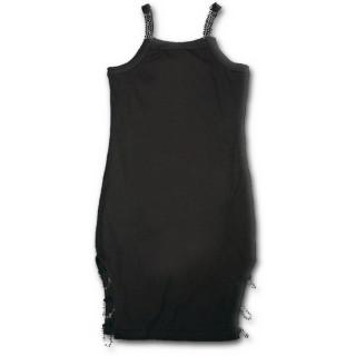 Tunique gothique noire fendue avec bretelles à chaines
