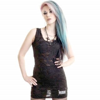 Tunique / robe goth-rock en guipure noire