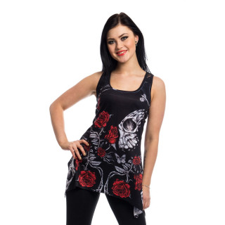 Tunique / robe goth-rock IMMORTAL LOVE à crane et roses - Vixxsin